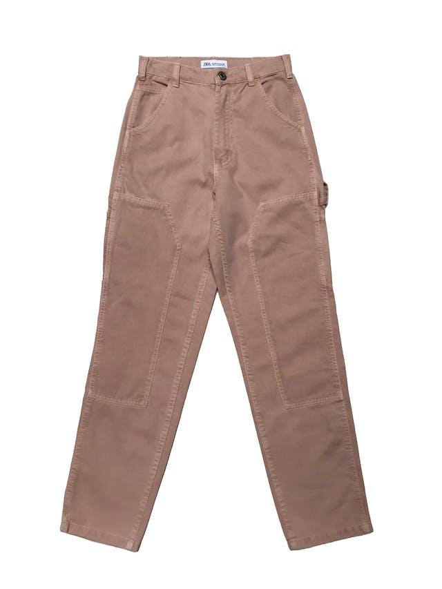 Jean Zara palo rosa efecto lavado, modelo carpenter a la cintura y corte mom, 100% algodòn. Cintura 60cm Largo 95cm foto 1