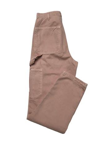 Jean Zara palo rosa efecto lavado, modelo carpenter a la cintura y corte mom, 100% algodòn. Cintura 60cm Largo 95cm foto 2