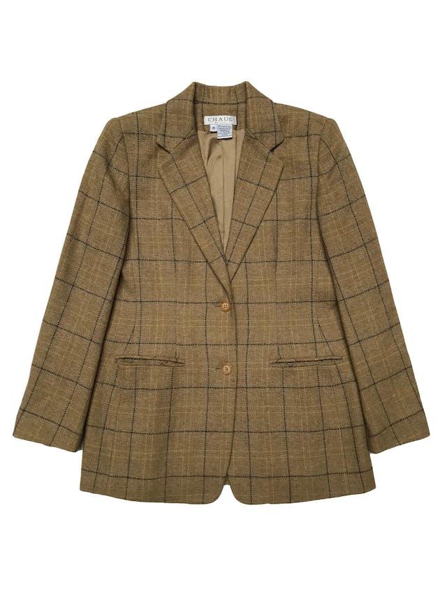 Blazer Chaus 100% lana beige, forrado, con solapas y dos botones delanteros. Busto100cm Largo 68cm foto 1