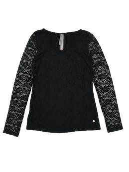 Polo Bugui de algodón negra con delantero y mangas de encaje stretch (forro delantero). Largo 60cm foto 1