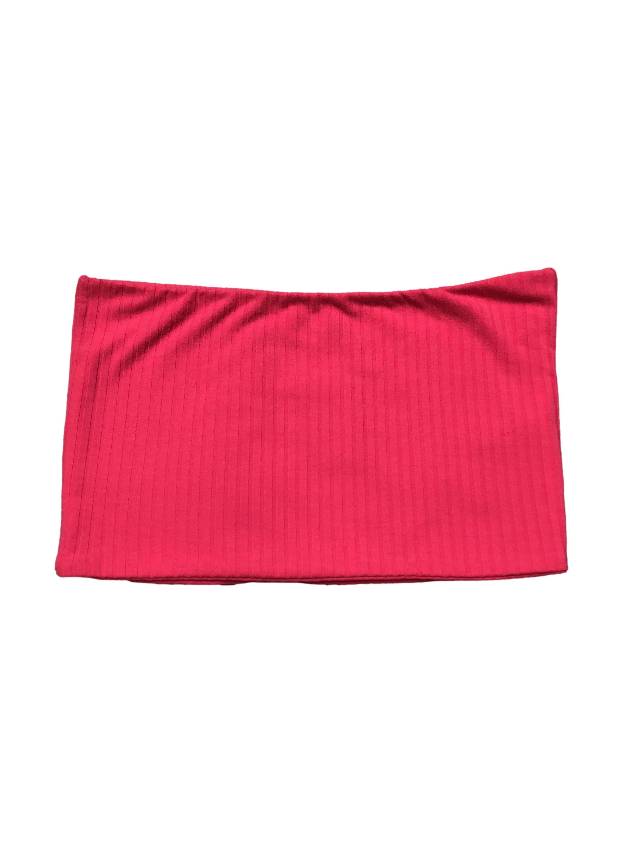 Top Sybilla strapless de doble capa de tela acanalada.  Largo 22cm
