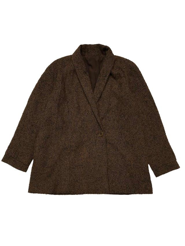 Abrigo de lana y alpaca marrón y negro, forrado, modelo cruzado con bolsillos laterales.  Ancho 120cm Largo 76cm foto 1