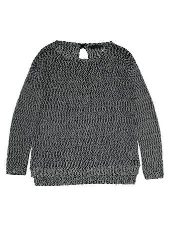 Chompa Sfera jaspeada en crema y negro, con lacito posterior en el cuello, basta asimétrica más larga atrás. Ancho 110cm Largo 60-70cm foto 1