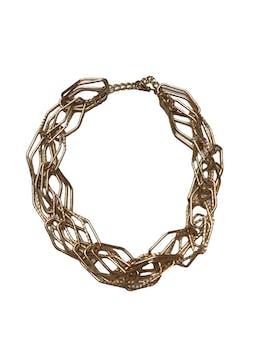 Collar metálico dorado de rombos entrelazados. Largo 45-53cm foto 1