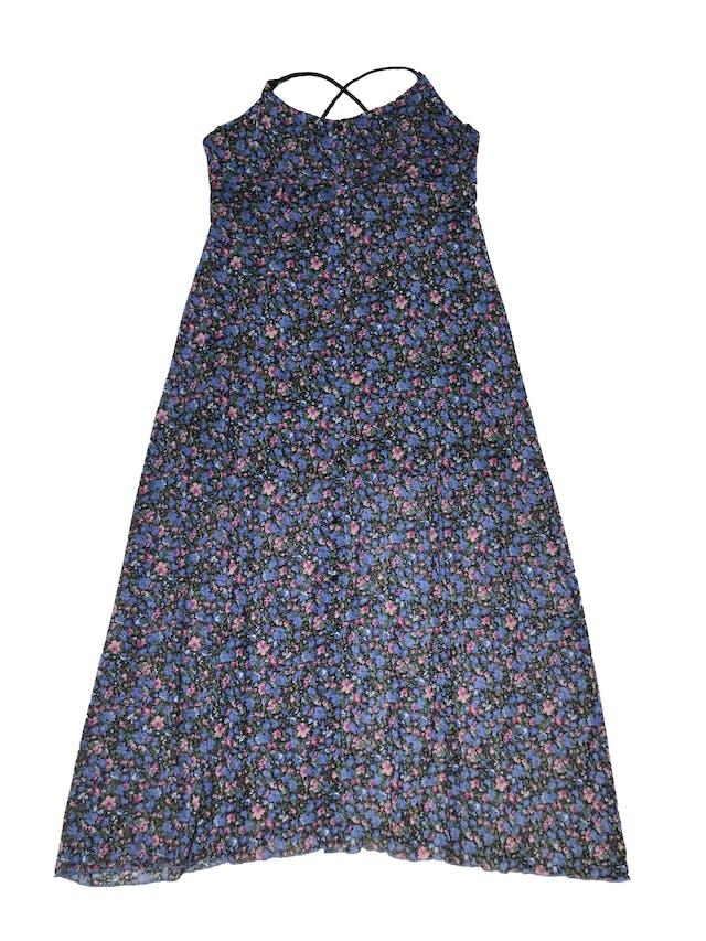 Vestido midi Opoosite de mesh negro con florcitas moradas y azules, botones delanteros, tiritas cruzadas elásticas y tiene forro mini. Largo desde sisa 105cm  foto 1