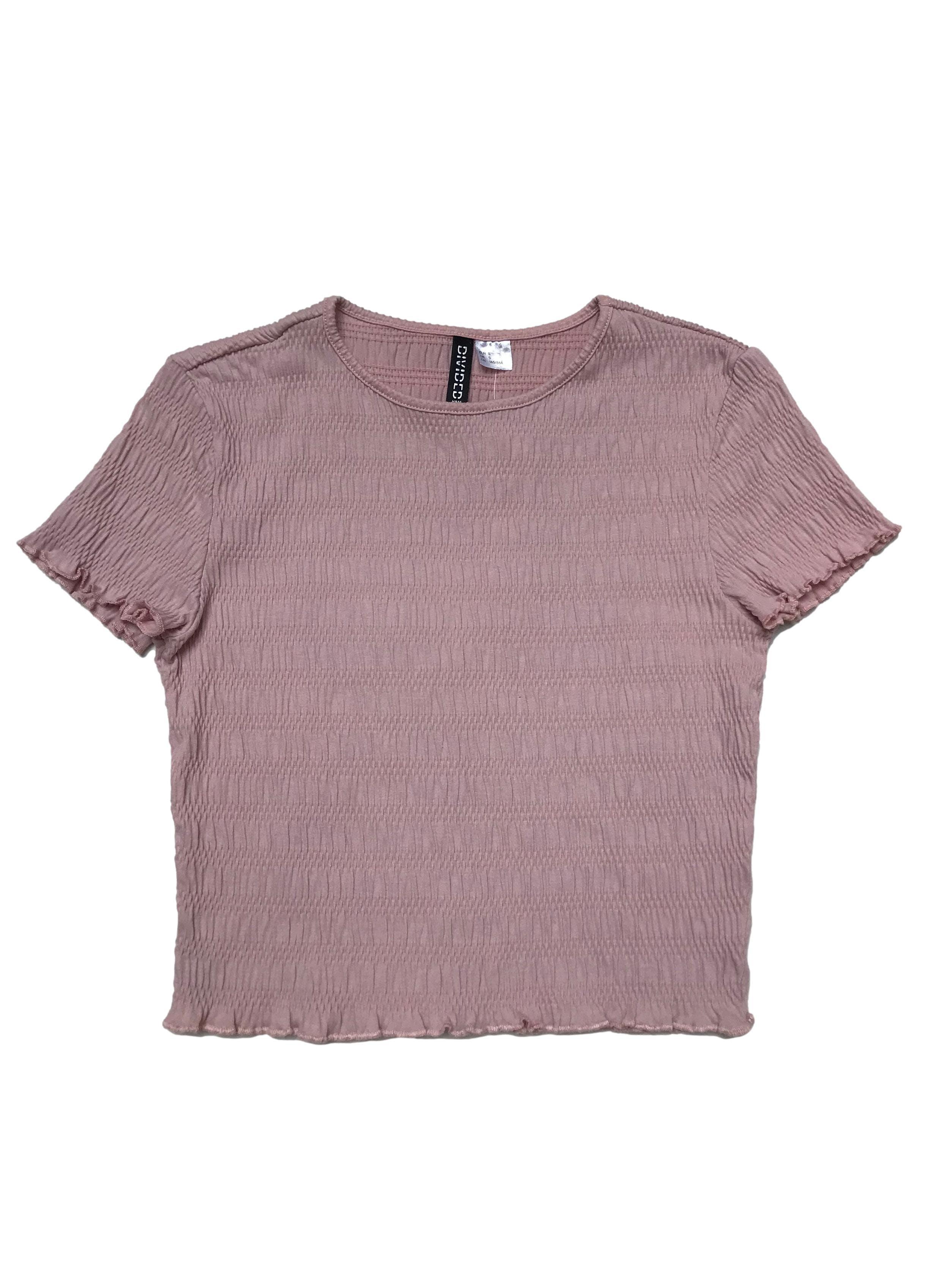 Polo H&M palo rosa con textura corrugada stretch. Largo 40cm