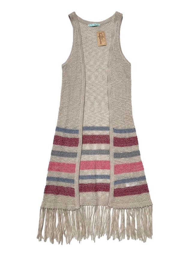 Chaleco largo tejido Maurices de acrílico y algodón, con franjas y flecos en la basta. Largo 100cm foto 1
