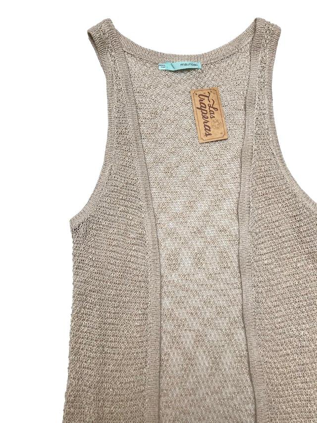 Chaleco largo tejido Maurices de acrílico y algodón, con franjas y flecos en la basta. Largo 100cm foto 2