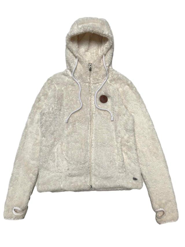 Casaca Doo Australia de peluche crema, con capucha, cierre y bolsillos delanteros. Ancho 100cm Largo 55cm foto 1