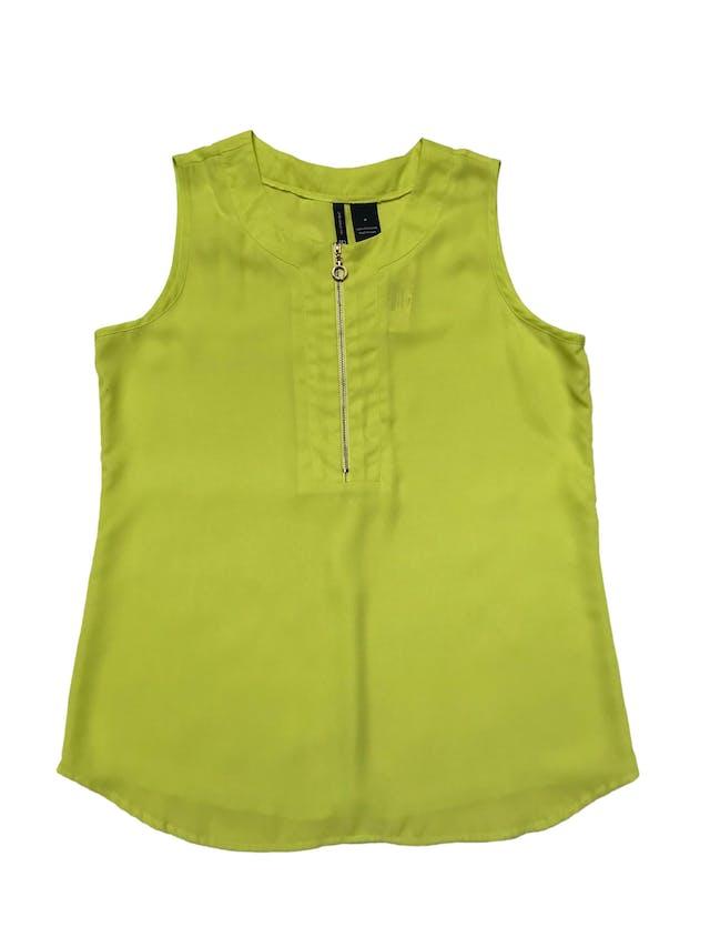 Blusa New Directions de gasa neón con cierre metálico dorado delantero. Busto 100cm Largo 65cm foto 1