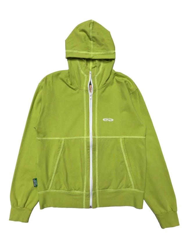 Casaca deportiva de algodón stretch, con capucha, bolsillos y cierre delantero. Largo 60cm. Ancho 100cm. foto 1