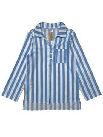 Blusa de tela fluida a rayas blancas y azules, botones en el escote y bolsillo en pecho, basta asimétrica más larga atrás. Busto 94cm Largo 63 - 70cm foto 1