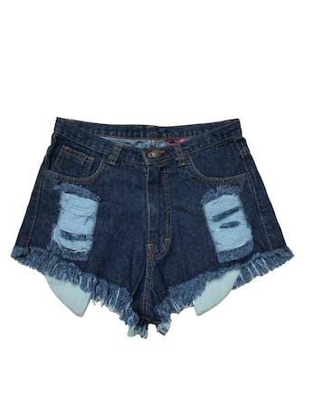 Short jean a la cintura, rasgado con bolsillos delanteros largos.  Cintura 68cm. Largo 25 cm.  foto 1