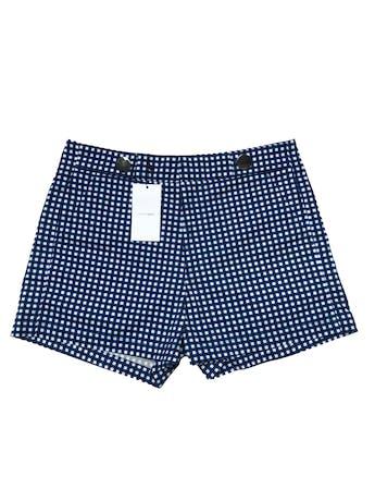 Short Sfera a cuadros blancos, azules y negros, tiro medio,  100% algodón, tiene bolsillos laterales y botones metálicos en la cintura. Pretina 78cm Largo 34cm. Nuevo con etiqueta. foto 1
