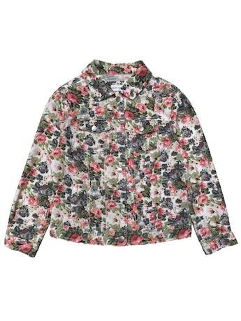 Casaca drill delgada Laura Kent, 77% algodón, blanca con estampado de flores, botones metálicos y bolsillos delanteros. Busto 95cm Largo 48cm foto 1