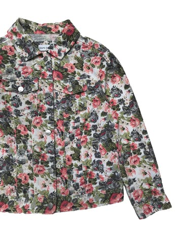 Casaca drill delgada Laura Kent, 77% algodón, blanca con estampado de flores, botones metálicos y bolsillos delanteros. Busto 95cm Largo 48cm foto 2