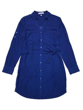 vestido - Vestido camisero Express de gasa azul, forrado, bolsillos en el pecho, cinto para regular y mangas largas regulables con botón. Ancho 96cm Largo 85cm.   - Talla S  - Express foto 1