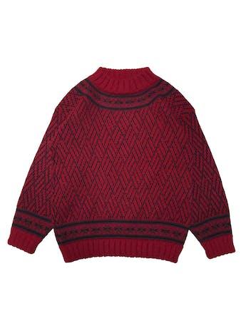 Chompa vintage roja con detalles negros, cuello alto, abriga. Busto 96cm Largo 60cm foto 1