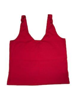 Polo rojo con textura de franjas al tono, tiras con nudo, escote en V con forro en el pecho. Busto 95cm Largo 56cm foto 1