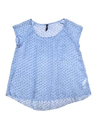 Blusa Aeropostale de gasa celeste con florcitas azules. Busto 100cm Largo 55-60cm foto 1