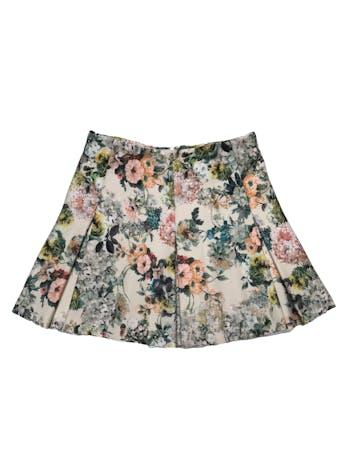 Falda Pull&bear beige con estampado de flores, tela gruesa con estructura. Cintura 68cm Largo 38cm foto 1
