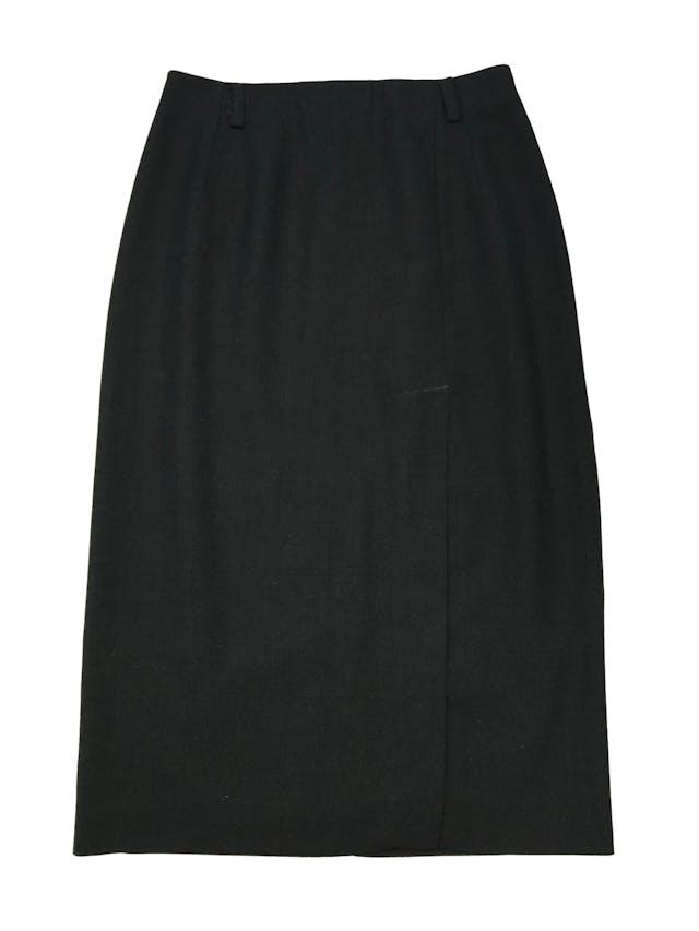 Falda vintage midi, sastre gris con abertura delantera, tiene forro, cierre y botón posteriores. Cintura 78cm Largo 80cm  foto 1
