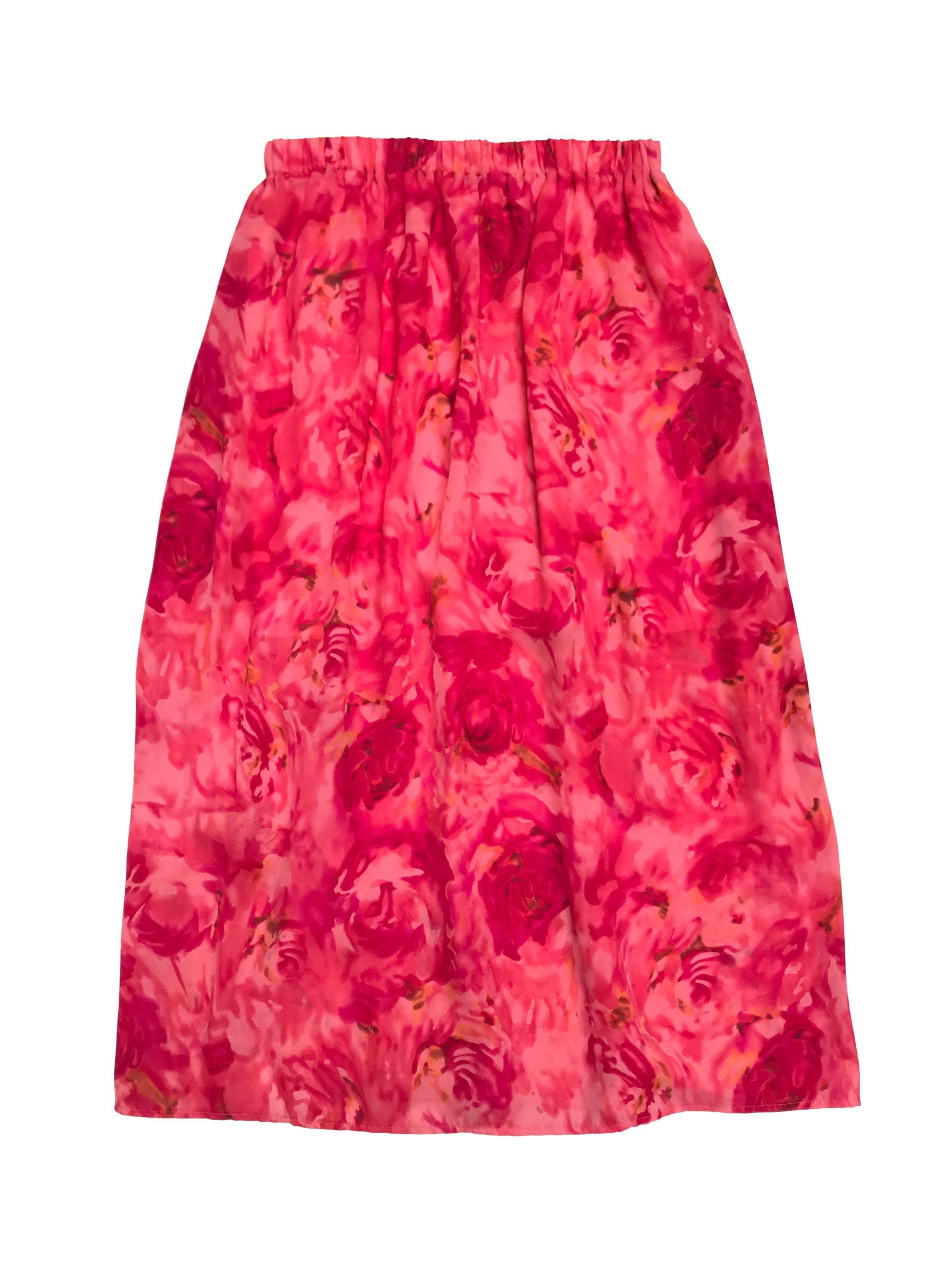 Falda larga de crepé rosa y fucsia, lleva forro y pretina elástica. Cintura 80cm din estirar Largo 92cm